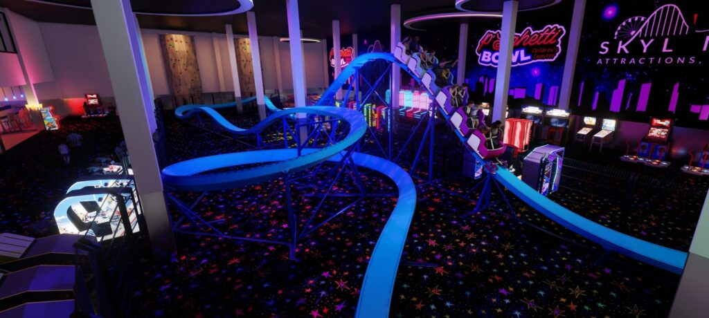 000-1359 P'Sghetti Bowl Children's Coaster - Skyline Design - Model D First Drop Perspective View